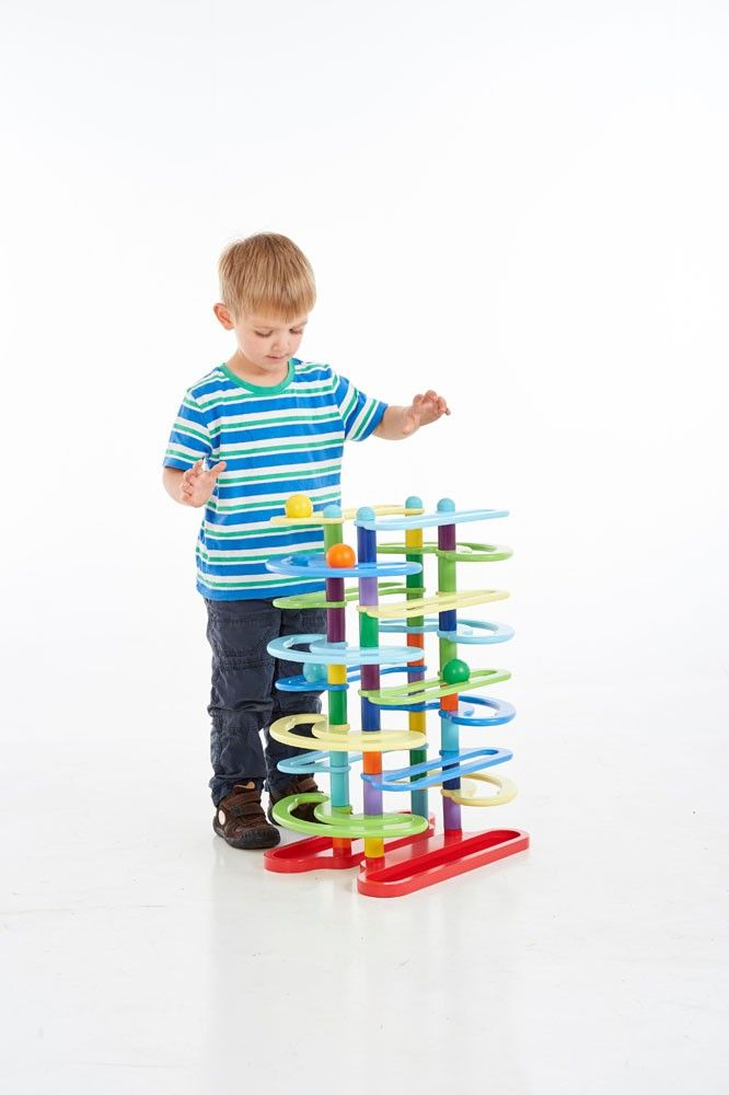 Toys With Balls And Tubes : Twin ball track racer toy tube sensory